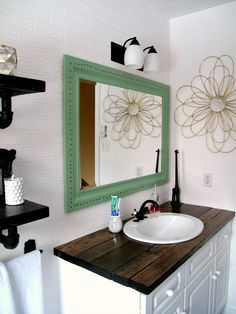 Rustic wood vanity: DIY Wood Counter Top, bathroom, makeover budget farmhouse rustic