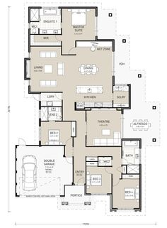 apartment floor plans When I share plans online I get lots of messages about bedroom positions. As in, the comment is to have the master on the back, not the front. Dream House Plans, Small House Plans, House Floor Plans, Home Design Floor Plans, Plan Design, Floor Design, Single Storey House Plans, Courtyard Entry, Bathroom Floor Plans