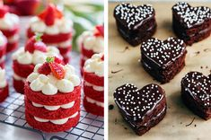 Mini Red Velvet Cakes 17 Super Cute Mini Cakes You'll Want To Make This Valentine's Day Fun Baking Recipes, Tea Recipes, Dessert Recipes, Cooking Recipes, Valentine Desserts, Valentine Cake, Valentines, Valentine Treats, Small Desserts