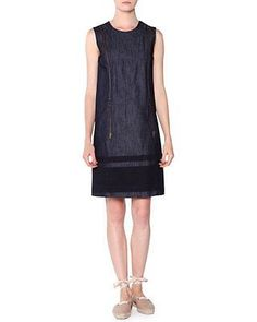 Tomas Maier Zip-Detailed Denim Shift Dress, Dark Navy/Blazer