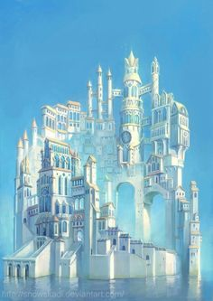"Fantasy images, art by SnowSkadi – The Dragons ""Hoard""…. Fantasy images, art by SnowSkadi Fantasy images, art by SnowSkadi Fantasy City, Fantasy Castle, Fantasy Places, Fantasy World, Elves Fantasy, Fantasy Village, Fantasy Setting, Fantasy Landscape, Landscape Art"