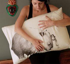 Wombat pillowcase with girl, facing right. Australian gift with original art by flossy-p Australian Gifts, Australian Art, Pattern Design, Print Design, Yellow Moon, Folder Design, Wombat, Girl Face, Decorative Items