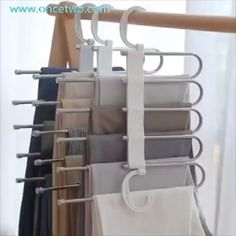 Stainless steel multi-functional drying trouser rack multi-layer storage folding trouser rack