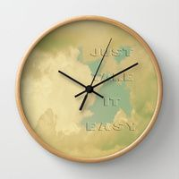 Wall Clock featuring Take It Easy by aRTsKRATCHES #clock #homeDecor #quote