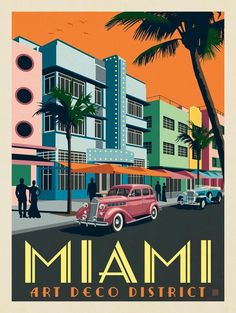 Miami FL Art Deco District Postcard - Travel Miami - Ideas of Travel in Miami Miami Art Deco, Art Deco Illustration, Illustrations, Retro Poster, Moda Art Deco, Art Deco Stil, Art Deco Posters, Art Deco Artwork, Postcard Art