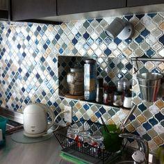 リノベーション/名古屋モザイク …などのインテリア実例 - 2014-06-07 23:59:34 Lisa's Kitchen, Kitchen Backsplash, Love Home, Tile Art, Arabesque, Kitchen Remodel, House Plans, Diy And Crafts, Mosaic