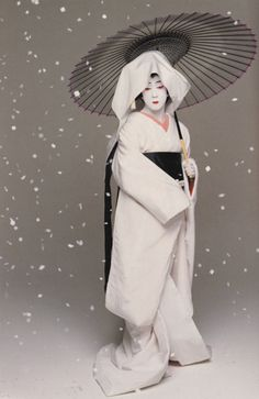 Japan's National Living Treasure, Kabuki Actor Bando Tamasaburo, here in 'Sagi Musume'.