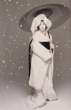 Japan's National Living Treasure, Kabuki Actor Bando Tamasaburo, here in 'Sagi Musume'.