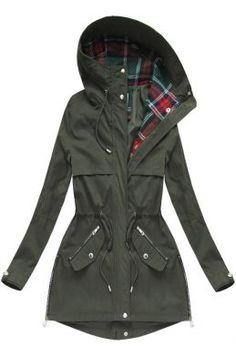 Dámska prechodná bunda parka khaki W151 Parka, Raincoat, Outfit, Jackets, Fashion, Rain Jacket, Outfits, Down Jackets, Moda