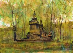 Orthodox church in Hańczowa. Watercolor. Author: Witold Kubicha