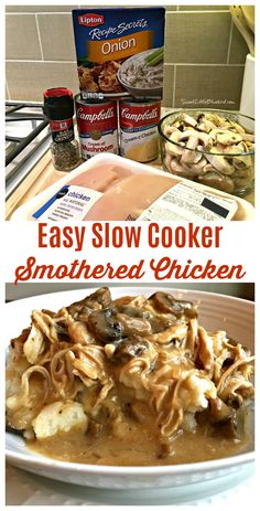 EASY SLOW COOKER SMOTHERED CHICKEN with GRAVY-  Comfort food that's simple to make, so good. With just a few ingredients and minutes to whip together, this simple and flavorful slow cooker smothered chicken recipe is a meal the whole family will love! Perfect for a busy day...let your slow cooker do most of the work!. #SlowCooker #CrockPot #Chicken #Smothered #Easy #Recipe #MainDish #ComfortFood