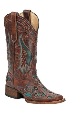 Corral® Ladies Distressed Cognac Brown with Turquoise Inlay Square Toe Cowboy Boots