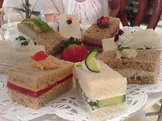 My tea sandwich recipes are deliciously different and guaranteed to make you the life of the tea party! High Tea Sandwiches, Finger Sandwiches, Tapas, Afternoon Tea Parties, Sandwich Recipes, Sandwich Ideas, Tea Cakes, Tea Recipes, Me Time