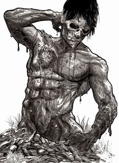 male zombie pinup by Rob Sacchetto