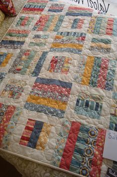 Quilt made from a Salt Air Jelly Roll from Moda, pattern is Radioway from Jay Bird Quilts For The Quilt Barn