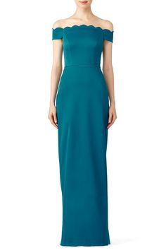 11efcd1e7b9 Rent Teal Scallop Gown by Badgley Mischka for  55 -  75 only at Rent the  Runway