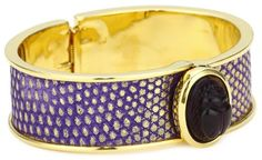 KARA by Kara Ross Gold with Gold Washed Purple Lizard and Amethyst Scarab Cuff Bracelet « Xquisite Beauty
