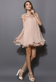 Pleated Dolly Dress in Nude Pink