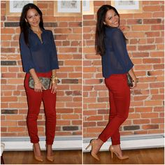Business casual work outfit: navy blouse, red skinnies, nude heels.