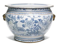 A BLUE AND WHITE 'PHEASANT AND FLOWER' FISH BOWL<br>QING DYNASTY | Lot | Sotheby's