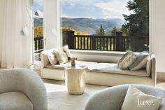 An Avon #mountain retreat's #livingroom #windowseat.