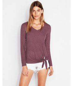 073dd04f434 Express One Eleven Tie Front Slim Tee Purple Women s S