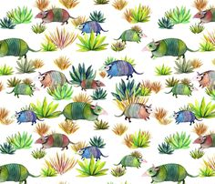 Armadillos wandering the desert in a disorderly fashion fabric by vo_aka_virginiao on Spoonflower - custom fabric