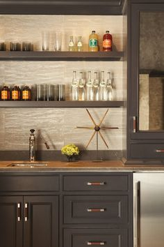 LR Wine Bar- Floating shelves with material on wall