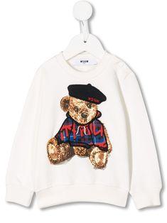 Msgm Babies' Embroidered Teddybear Sweatshirt In White Msgm Kids, Teddybear, Kids Fashion, Fashion Design, Baby Design, Baby Boy, Women Wear, Graphic Sweatshirt, Babies