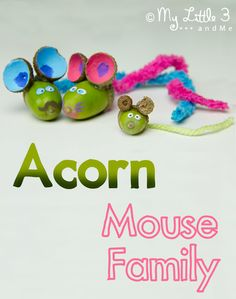 We love these adorable ACORN MICE! Get the kiddies out collecting for this acorn craft project today! Autumn / Fall crafts for kids are such fun. Squeak!