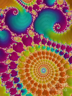 Tie Dye Spiral by Heidi Smith - a vibrant fractal that takes us back to the era of hippies and flower children!!