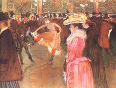 "Happy birthday to French artist Henri de Toulouse-Lautrec. With its top hats and cancan dancing, this famous work of his depicts a wild night in Paris at the Moulin Rouge. ""At the Moulin Rouge: The Dance,"" by Henri de Toulouse-Lautrec Henri De Toulouse Lautrec, Belle Epoque, Maurice Utrillo, Anthony Van Dyck, Georges Seurat, Philadelphia Museum Of Art, Philadelphia Pa, Giacometti, Oil Painting Reproductions"