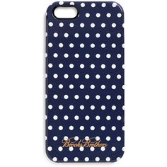 Brooks Brothers Navy and White Polka Dot iPhone 5 Case ($35) ❤ liked on Polyvore featuring men's fashion, men's accessories, men's tech accessories, phone cases, phone, accessories, iphone cases and electronics