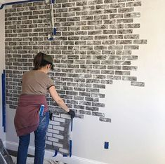 DIY faux brick wall makeover ideas on a budget using easy to use brick wall stencil patterns from Cutting Edge Stencils Painted Brick Walls, Brick Accent Walls, Fake Brick Walls, Faux Brick Wall Panels, Wall Stencil Patterns, Brick Patterns, Tile Stencils, Stencil Diy, Diy Wand