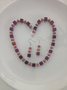 Purple Choker Purple Hematite Necklace Set by AwfyBrawJewellery