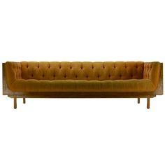 Burl Case Sofa By Milo Baughman