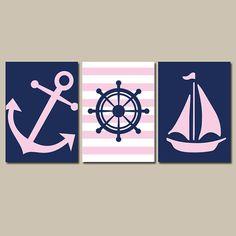 Nautical Wall Art Nursery Bathroom Canvas Navy Blue Red Preppy Artwork Ocean Girl Boy Anchor Boat Wheel Pick Colors Set of 3 Prints Three