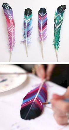 Homemade Christmas gifts and original packaging - homemade christmas presents feather … - Feather Painting, Feather Art, Diy Painting, Diy For Kids, Crafts For Kids, Arts And Crafts, Fun Diy Crafts, Fall Crafts, Simple Crafts
