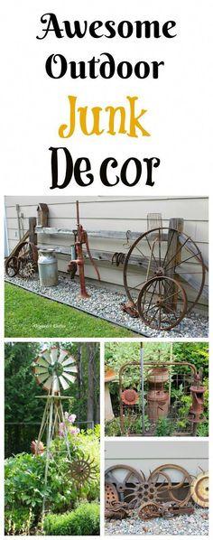 garden Crafts Awesome Dana's Fun Outdoor Junk Decor & Gardens Diy Garden Projects, Garden Crafts, Outdoor Projects, Garden Art, Garden Design, Garden Whimsy, Garden Junk, Garden Planters, Garden Beds