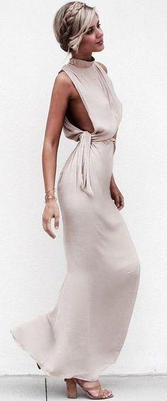 Elegant VibesCreme Drape Dress | Saboskirt
