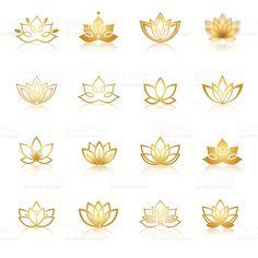 """Or symbole icônes de Lotus. Vector floral étiquettes pour le bien-être de l """"…"""