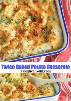Twice baked potato casserole is new twist on stuffed baked potatoes! Loaded with cheese and bacon, this casserole makes a great side dish for a weeknight meal or Sunday supper yet fancy enough for the holidays. #asouthernsoul #bakedpotatocasserole #casserole #bakedpotato #potato #easyrecipe #recipes #sidedishes #holidayfood