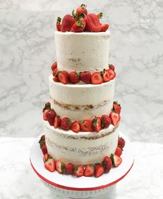 Strawberry Naked 3 Tier Buttercream Cake #SweetEsBakeShop #NakedCake