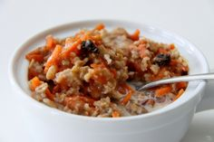 Carrot Cake Oatmeal  with a little @So Delicious Dairy Free French Vanilla Coconut Milk Creamer poured over it