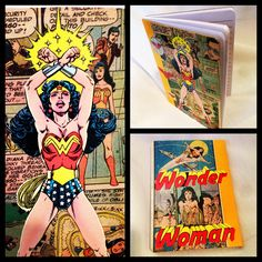Handmade journal made from original Wonder Woman comic book pages! Tracimoc.com