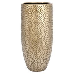 Ceramic vase in gold with a quatrefoil ogee motif.   Product: VaseConstruction Material: CeramicColo...