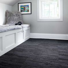 The alchemy of mixed cut and loop pile in this style gives you a softer, more luxe area rug feel with the durability of other textured carpet squares. Black Carpet Bedroom, Beige Carpet, Modern Carpet, Living Room Carpet, My Living Room, Dark Carpet, Bedroom Carpet Colors, Carpet In Bedrooms, Attic Bedrooms