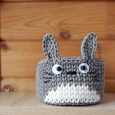 Totoro fan gift, Small crochet basket for anime nursery decor and storage Crochet Gifts, Cute Crochet, Handmade Headbands, Handmade Crafts, Handmade Rugs, Crochet Designs, Crochet Patterns, Crochet Totoro, Crochet Storage