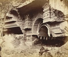 Kondani Chaitya (from duplicate negative) [View from the right of the façade of Buddhist Chaitya Hall, Kondane Cave, Thane District.]
