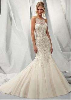 Cheap mermaid wedding dresses, Buy Quality stock wedding dresses directly from China wedding dress Suppliers: Sexy T Back Mermaid Wedding Dresses with Lace High Neck Bridal Gowns Ivory Organza Vestido De Noiva In Stock 2015 Wedding Dresses, Wedding Dress Styles, Bridal Dresses, Bridesmaid Dresses, Tulle Wedding, Dress Wedding, Dresses 2014, Mermaid Wedding Dress Bling, Wedding Dresses With Bling